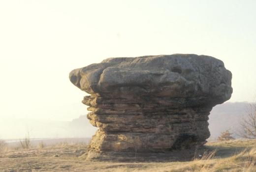 Eroded block known as 'The Mushroom'. Important pre- and protohistoric find-place. Nommern 'Lock'