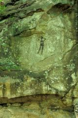 Rock carving known as 'The Black Man'.  Gallo-roman period (?) between Waldbillig and Müllerthal - © 7-2004 by Marc Heinen