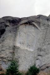 Rock carving showing a couple. Gallo-roman period. Altlinster 'Häertcheslä' - © 1-1985 by Marc Heinen
